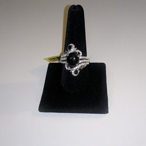 Thai Black Spinel,Cambodian Zircon Ring(size 10)